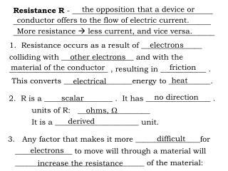 Resistance R  - _____________________________________