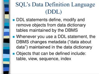 SQL's Data Definition Language (DDL)