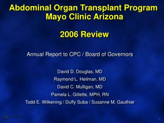 Abdominal Organ Transplant Program  Mayo Clinic Arizona 2006 Review