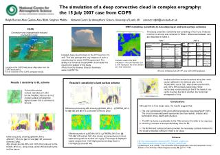 The simulation of a deep convective cloud in complex orography:  the 15 July 2007 case from COPS