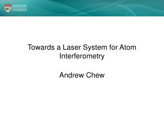 Towards a Laser System for Atom Interferometry