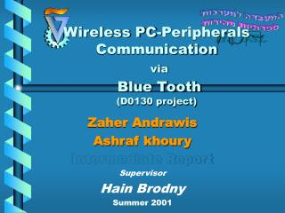 Zaher Andrawis  Ashraf khoury Intermediate Report Supervisor Hain Brodny Summer 2001