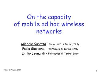 On the capacity  of mobile ad hoc wireless networks