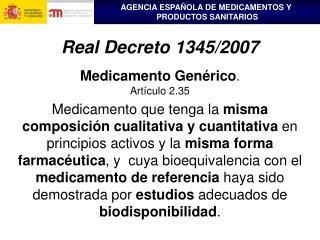 Medicamento Genérico . Artículo 2.35