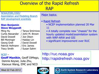 Overview of the Rapid Refresh  RAP