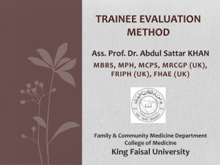 Trainee evaluation method