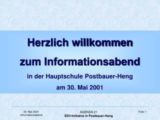 Herzlich willkommen  zum Informationsabend in der Hauptschule Postbauer-Heng am 30. Mai 2001