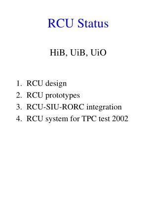 RCU Status
