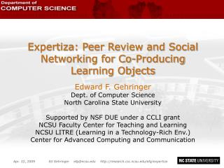 Expertiza : Peer Review  and  Social Networking for Co-Producing Learning Objects