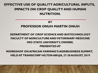 Human Nutrition and Agriculture