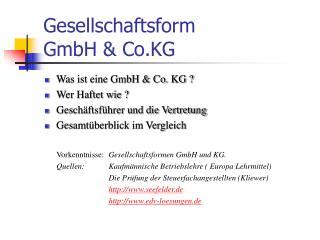 Gesellschaftsform  GmbH & Co.KG