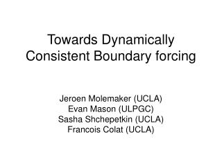 Towards Dynamically Consistent Boundary forcing