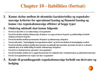 Chapter 10 - liabilities (fortsat)