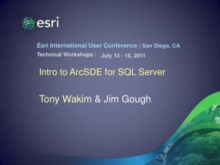 Intro to ArcSDE for SQL Server