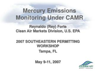 Mercury Emissions Monitoring Under CAMR