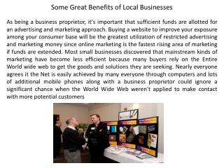 Some Great Benefits of Local Businesses