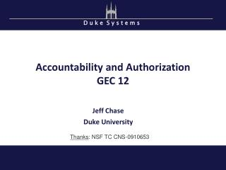 Accountability and Authorization GEC 12
