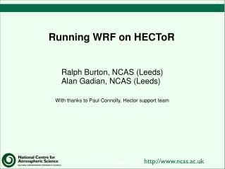 Running WRF on HECToR