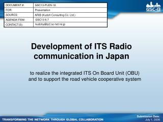 Development of ITS Radio  communication in Japan