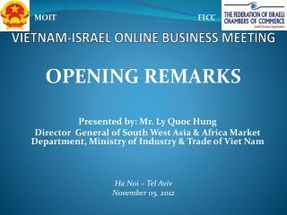 VIETNAM-ISRAEL ONLINE BUSINESS MEETING