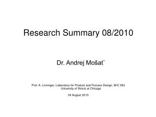 Research Summary 08/2010