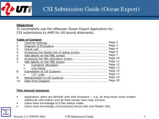 CSI Submission Guide (Ocean Export)