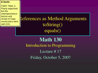 References as Method Arguments toString() equals()