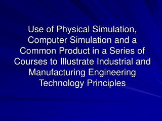 Tom Carlisle – Professor Industrial Engineering Technology, Sinclair Community College