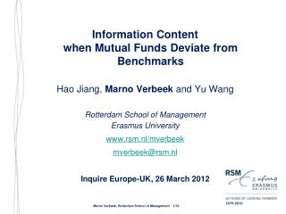 Information Content  when Mutual Funds Deviate from Benchmarks