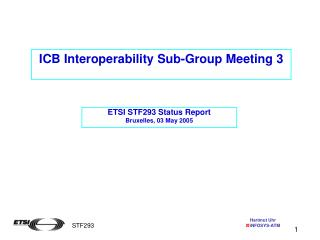 ICB Interoperability Sub-Group Meeting 3