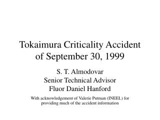 Tokaimura Criticality Accident of September 30, 1999