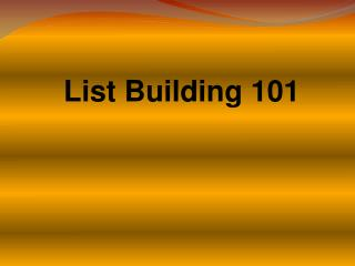 how to build a list now