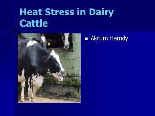 Heat Stress in Dairy Cattle