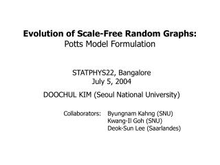 Evolution of Scale-Free Random Graphs: Potts Model Formulation