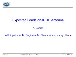 Expected Loads on ICRH Antenna A. Loarte with input from M. Sugihara, M. Shimada, and many others