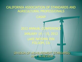 DIVISION OF MEASUREMENT STANDARDS 2011  IN REVIEW