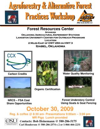Forest Resources Center Sponsors Oklahoma Agricultural Experiment Stations   Langston University Center for Outreach Pro