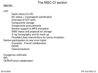 The MSC-CI section