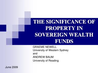 THE SIGNIFICANCE OF PROPERTY IN SOVEREIGN WEALTH FUNDS