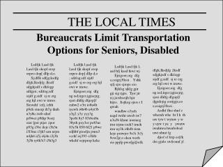 Bureaucrats Limit Transportation Options for Seniors, Disabled