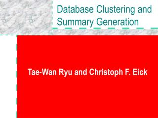 Database Clustering and Summary Generation
