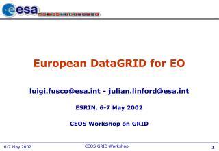 European DataGRID for EO