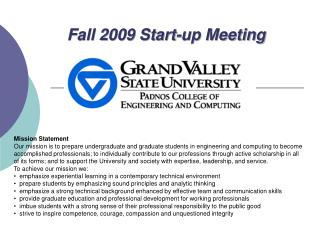 Fall 2009 Start-up Meeting