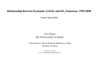 Relationship Between Economic Activity and SO x  Emissions: 1950-2000 Version 5 April 22, 2002