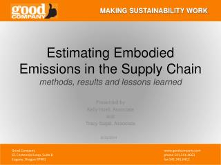 Estimating Embodied Emissions in the Supply Chain methods, results and lessons learned