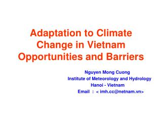 Adaptation to Climate Change in Vietnam Opportunities and Barriers