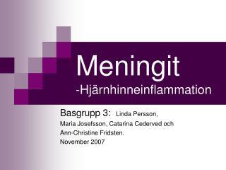 Meningit -Hj�rnhinneinflammation