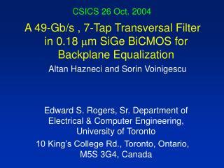 CSICS 26 Oct. 2004