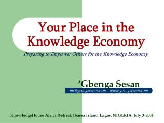 Your Place in the Knowledge Economy