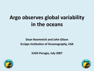 Argo observes global variability in the oceans